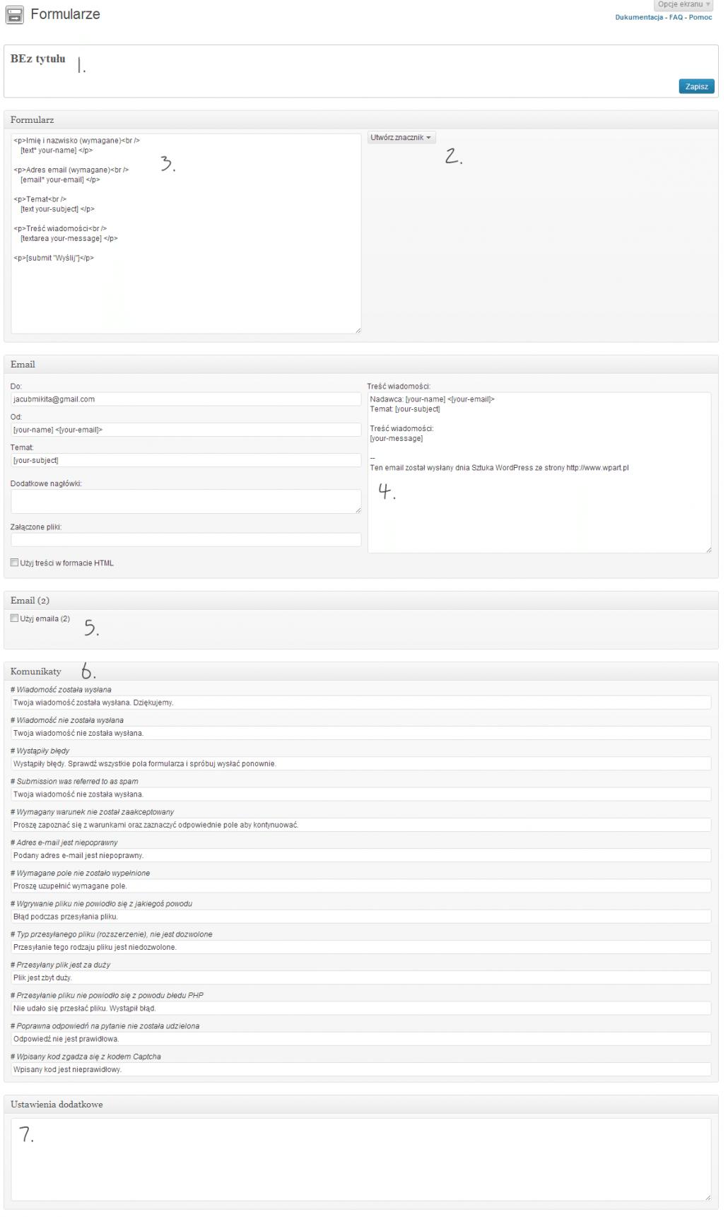 Formularze - komponowanie formularza