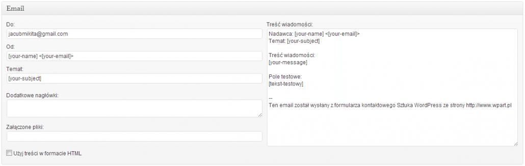 Formularze - szablon maila